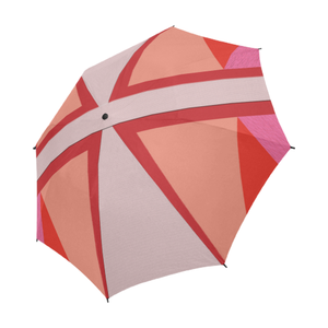 Shades of Red Patchwork Semi-Automatic Foldable Umbrella