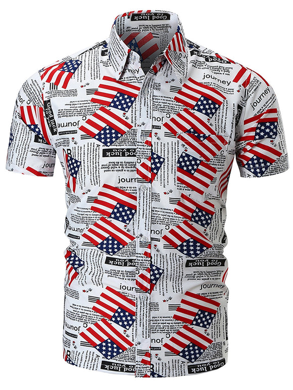 American Flag Letter Print Short Sleeve Shirt
