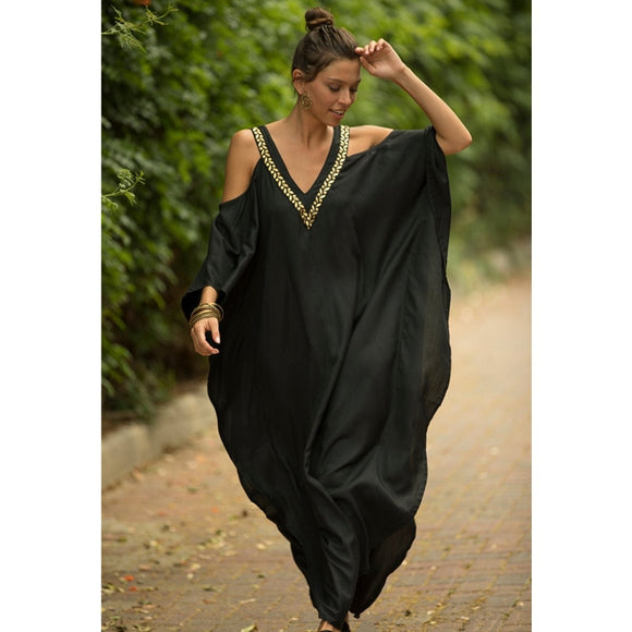 BRRMQQ Women Kaftan Beach Sarong Bikini Cover Up Tunic Dress Pareo Beachwear