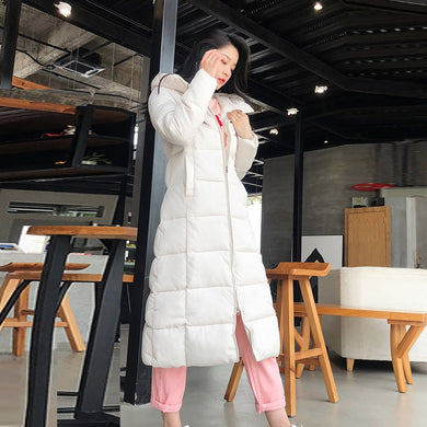 Chu Mark Winter Women Jacket X-long Hooded Cotton Padded Coat High Quality Outwear