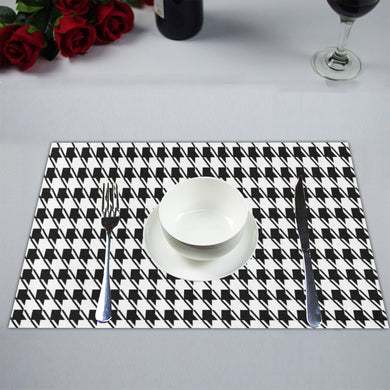 Black White Houndstooth Placemat 14'' x 19'' (Two Pieces)