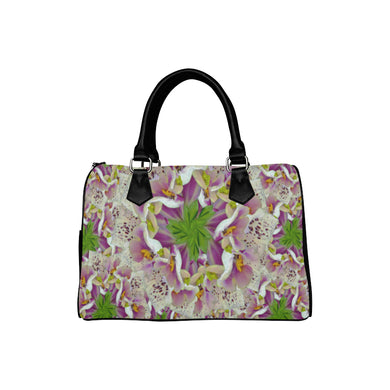 Digitalis Purpurea Flora Boston Handbag (Model 1621)