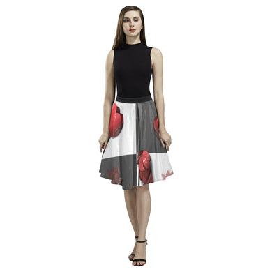Burnt Crimson Flora Melete Pleated Midi Skirt (Model D15)
