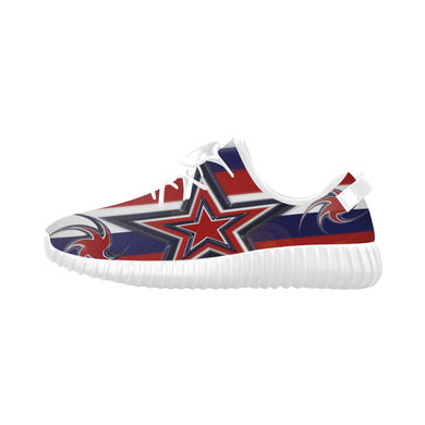 Tricolor Stars Stripes Grus Men's Breathable Woven Running Shoes (Model 022)