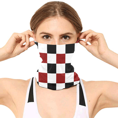 Black Red White Checker Multifunctional Headwear