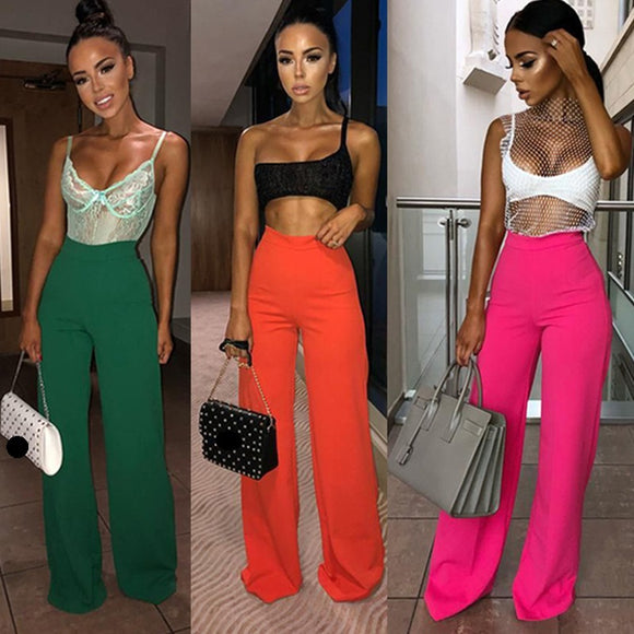 Women Loose Long High Waist Solid Color Wide Leg Pants