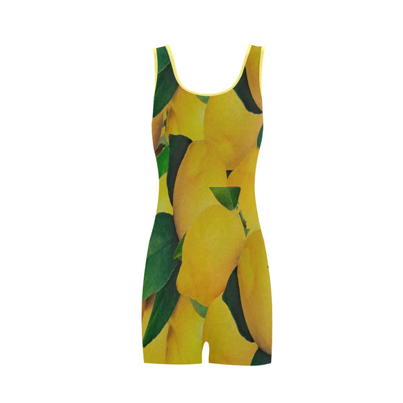 Old Gold Lemons Classic One Piece Swimwear (Model S03)