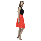 Pomegranate Solid Melete Pleated Midi Skirt (Model D15)