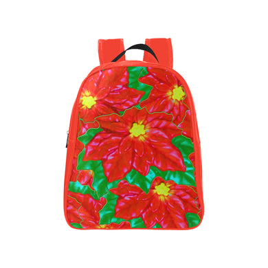 Red Orange Poinsettias School Backpack (Model 1601)(Medium)