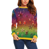 Rainbow Stars All Over Print Crewneck Sweatshirt for Women (Model H18)