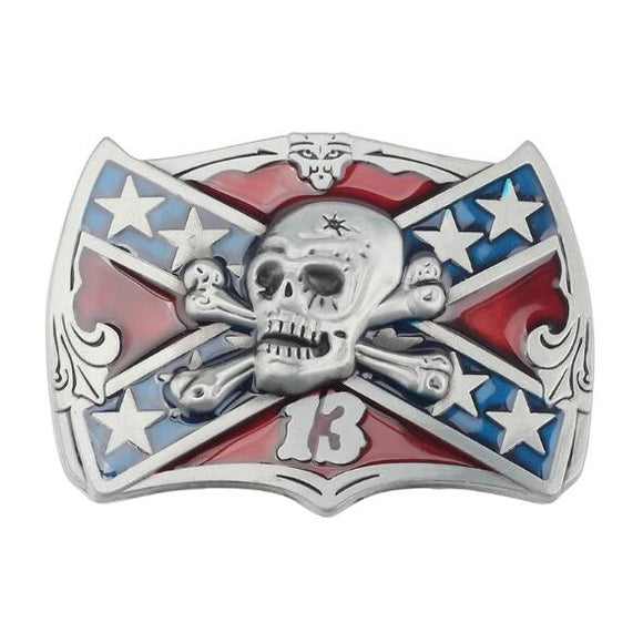 Flag Skull Belt Buckle