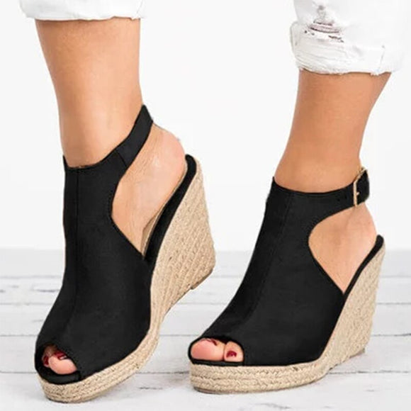 Women Suede Open Toe Cork Wedge Platform Buckle Ankle Strap High Heels Sandals