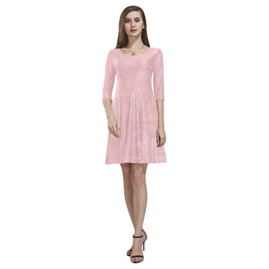Mandys Pink Azaleas Tethys Half-Sleeve Skater Dress(Model D20)