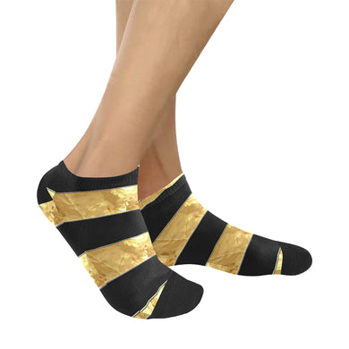 Black Gold Stripes Women's Ankle Socks