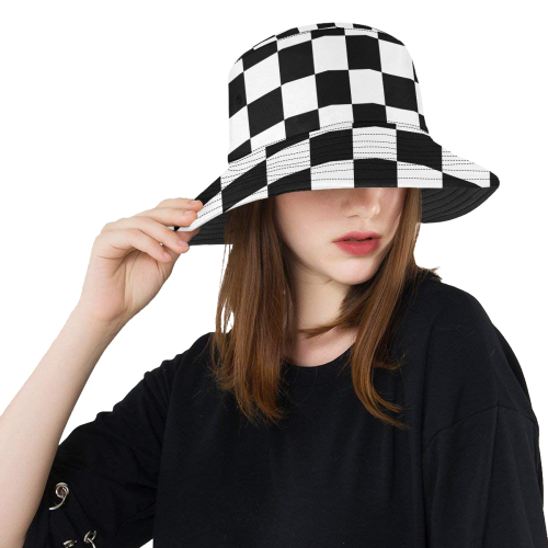 Black White Checkers All Over Print Bucket Hat