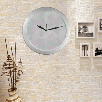 Clear Mint Silver Color Wall Clock
