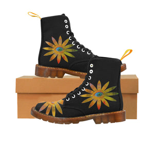 Yellowish Eye Flower Martin Boots For Women Model 1203H