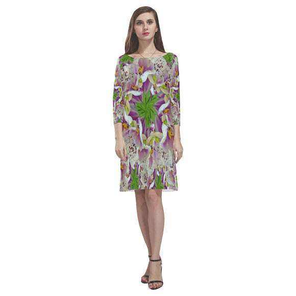 Digitalis Purpurea Flora Rhea Loose Round Neck Dress(Model D22)
