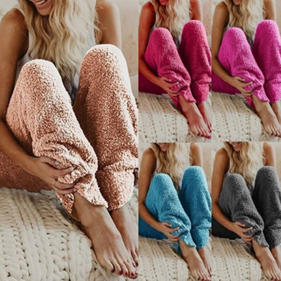 Women's Velour Solid Color Loose Plush Pant Self-Cultivation