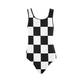 Black White Checkers Vest One Piece Swimsuit (Model S04)