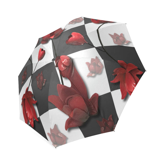 Burnt Crimson Flora Foldable Umbrella