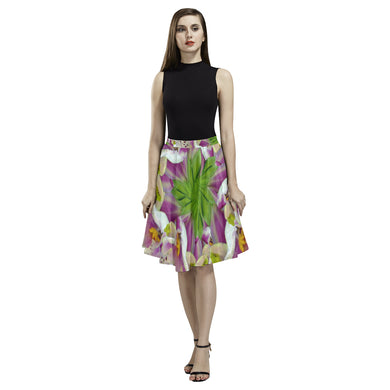 Digitalis Purpurea Flora Melete Pleated Midi Skirt (Model D15)