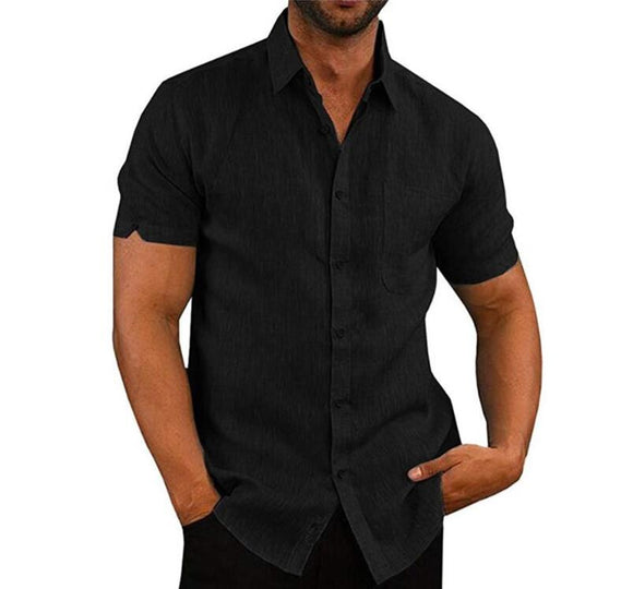 Men Short Sleeve Shirt Lapel Neck Button Pockets Solid Top