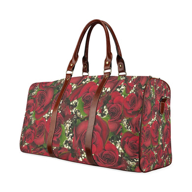 Carmine Roses Waterproof Travel Bag/Small (Model 1639)