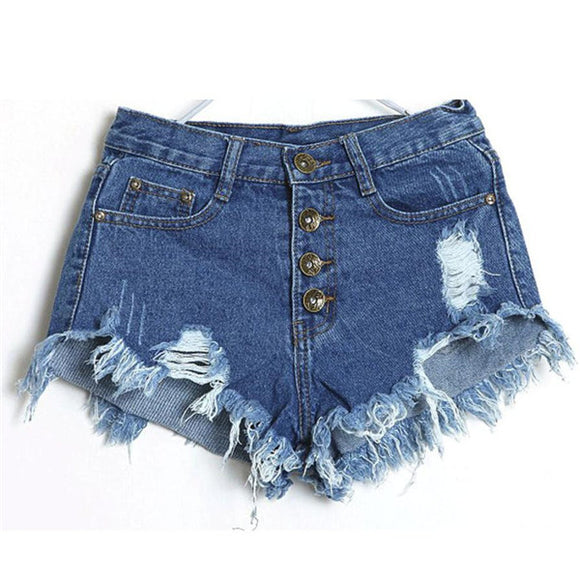 Women Vintage High Waist Slim Fit Denim Jeans Shorts Worn Loose Burr Hole