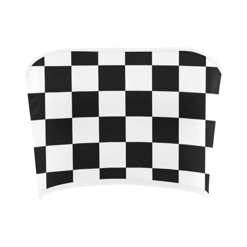 Black White Checkers Bandeau Top