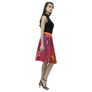 Rainbow Stars Melete Pleated Midi Skirt (Model D15)