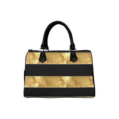 Black Gold Stripes Boston Handbag (Model 1621)