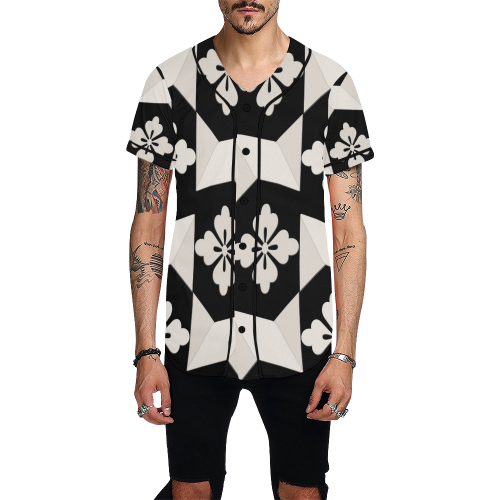 Black White Tiles All Over Print Baseball Jersey for Men (Model T50)