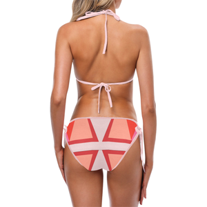Shades of Red Patchwork Custom Bikini Swimsuit (Model S01)