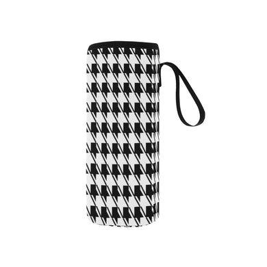 Black White Houndstooth Neoprene Water Bottle Pouch/Small