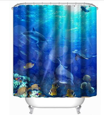 3D Colorful Sealife Bathroom Bath Decor Shower Curtains