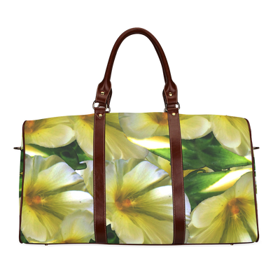 Elegant in Cream Flowers Waterproof Travel Bag/Small (Model 1639)