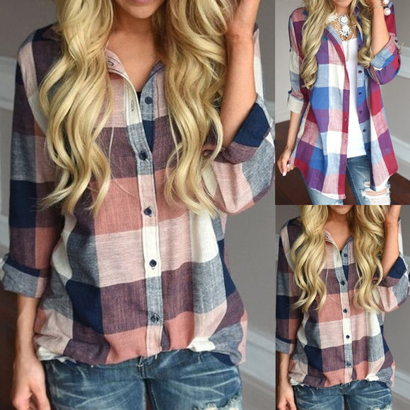Women Color Patchwork Long Sleeve Button Loose Plaid Shirt Top