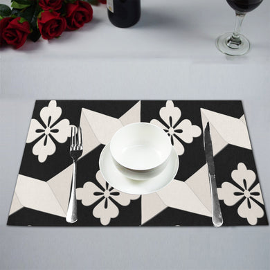 Black White Tiles Placemat 12'' x 18'' (Four Pieces)