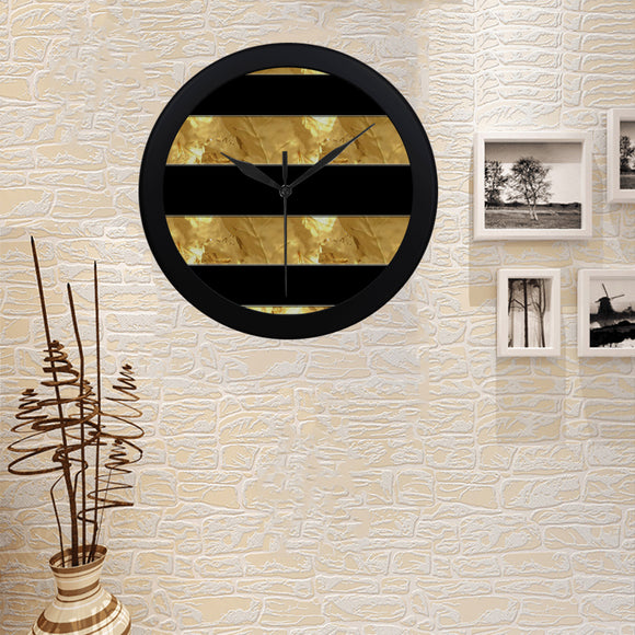 Black Gold Stripes Circular Plastic Wall clock