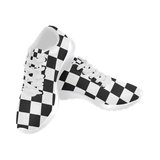 Black White Checkers Men's Running Shoes/Large Size (Model 020)
