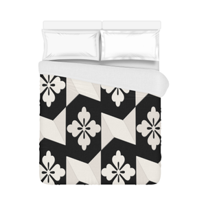 "Black White Tiles Duvet Cover 86""x70"" ( All-over-print)"