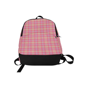 Pink Purple Plaid Fabric Backpack for Adult (Model 1659)