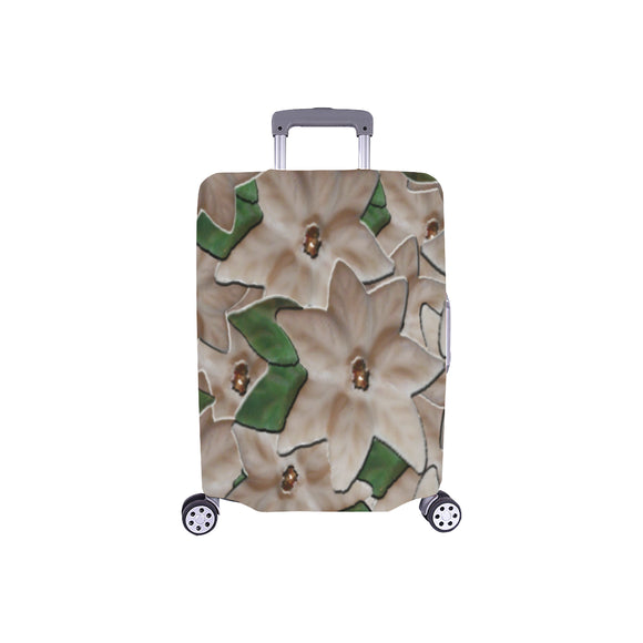White Poinsettia Flowers Luggage Cover/Small 24'' x 20''