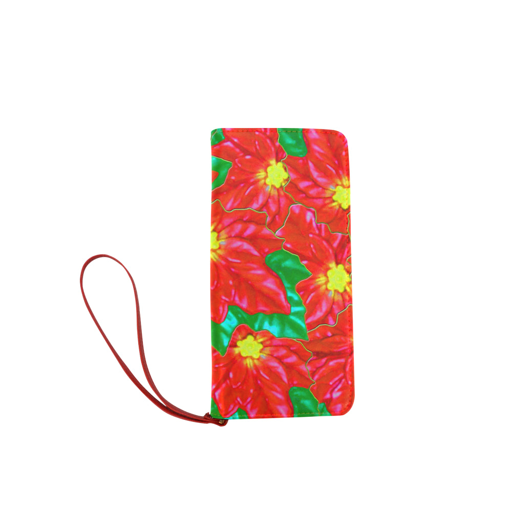 Red Orange Poinsettias Women's Clutch Wallet (Model 1637)