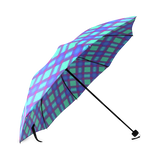 Bluish Plaid Foldable Umbrella