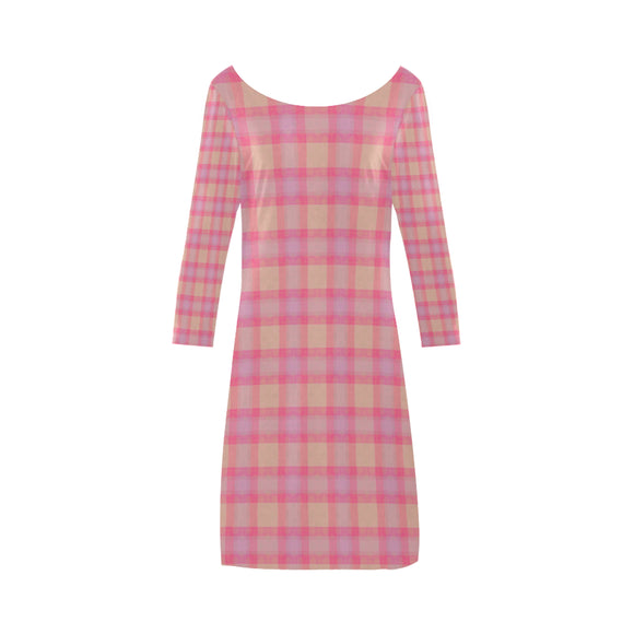 Pink Purple Plaid Bateau A-Line Skirt (D21)