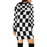 Black White Checkers All Over Print Hoodie Mini Dress (Model H27)