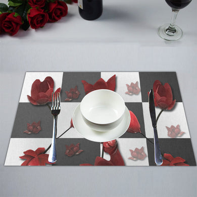 Burnt Crimson Flora Placemat 14'' x 19'' (Two Pieces)