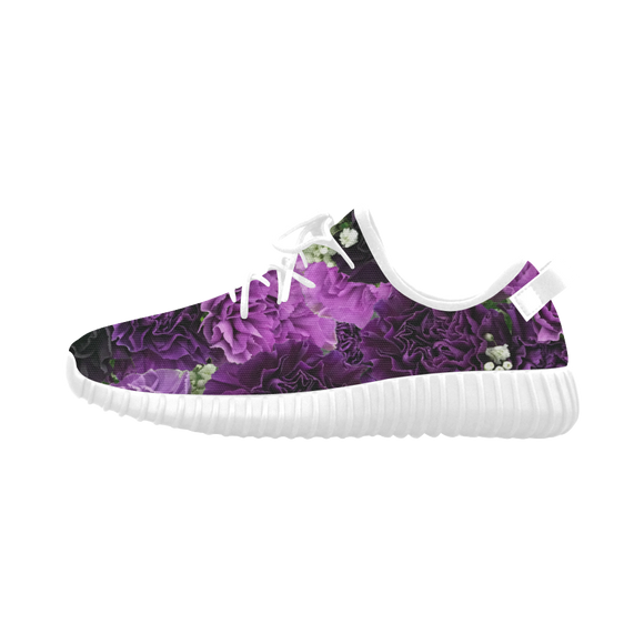 Little Purple Carnations Grus Women's Breathable Woven Running Shoes (Model 022)